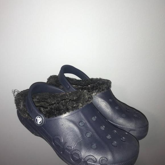 CROCS Shoes   Navy Blue Fuzzy Crocs